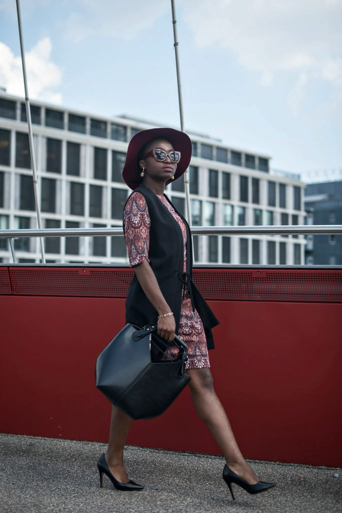 turning-point-black-bag-burgundy-sunglasses-black-heels-daniel-wellington-watch-red-jacquard-dress-long-black-sleeveless-blazer-ESPRIT-Imperfect-campaign-2016-bloggers-outfits-style-inspiration